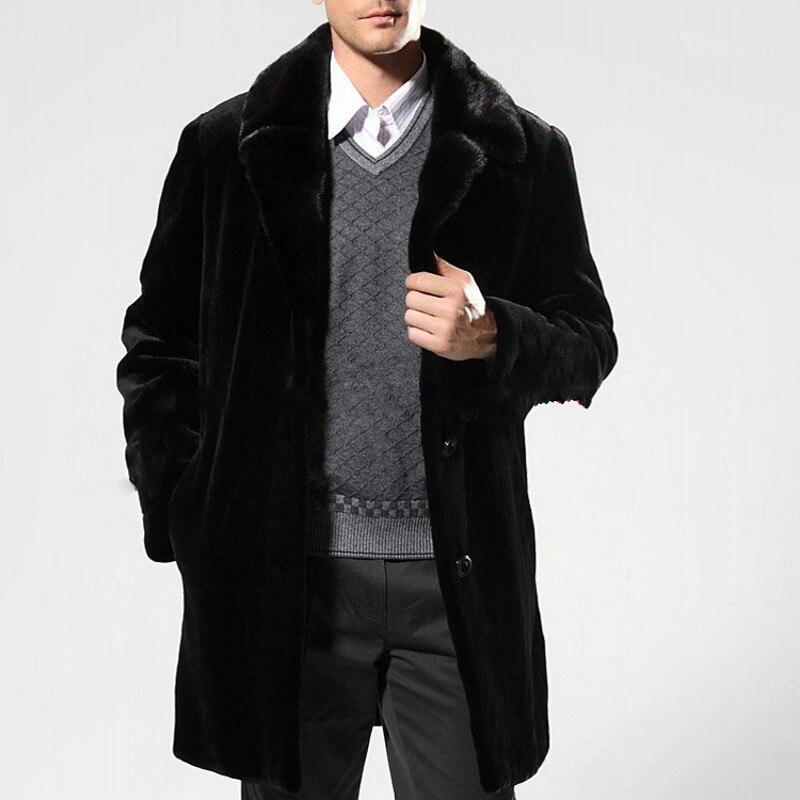 Chaud Manteaux Survêtement Noir De Grand Black Hiver D'affaires Lâche Hombre Droite En Pardessus Taille Homme Long Manteau Faux Vison Fausse Casual Fourrure tq0wq