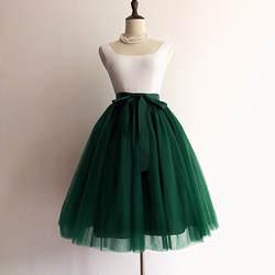 5 слоев 60 см принцессы миди Тюлевая юбка плиссе танцевальные юбки-пачки женщин Лолита юбки джинсовые нарядные юбки