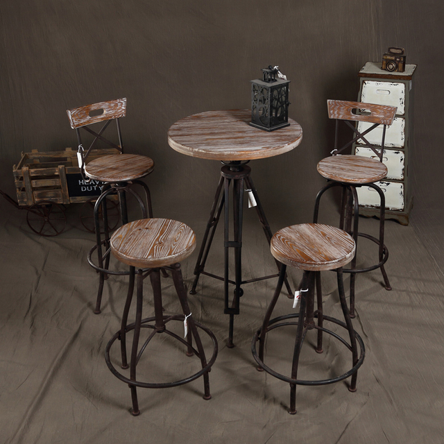 American Country To Do The Old Wood Furniture Wrought Iron Tables