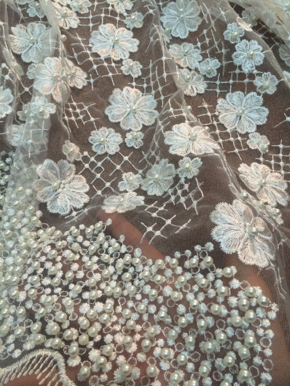 White african lace fabric high quality french beaded lace fabric embroidery bridal wedding lace in nigerian