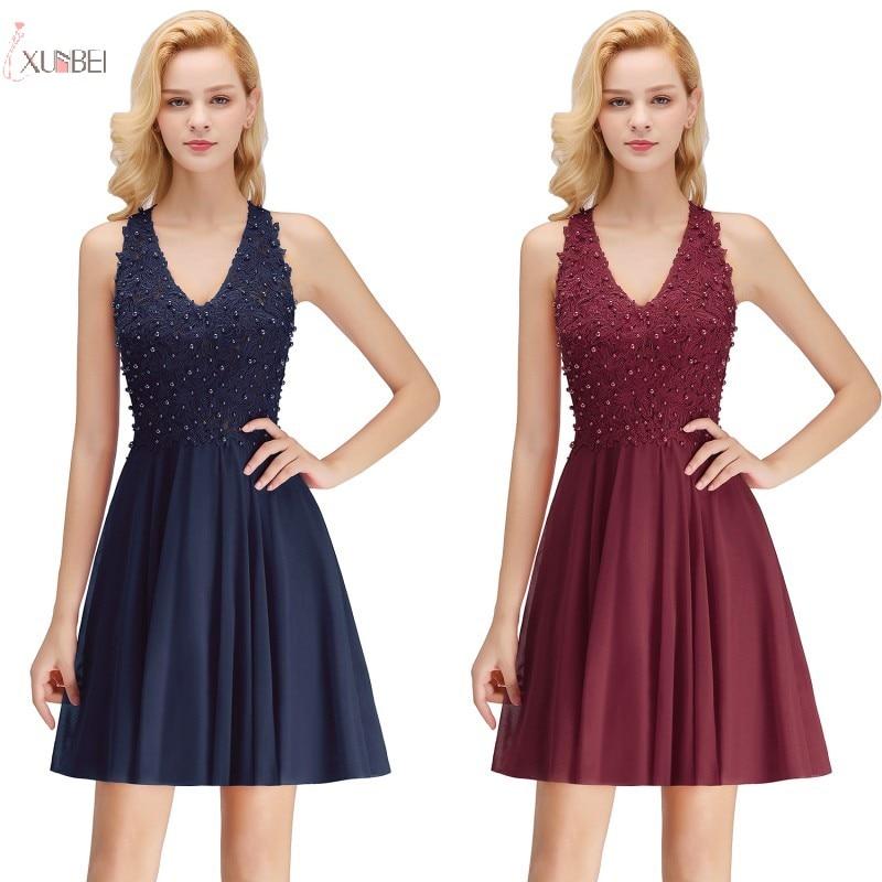 Mint Green Burgundy Navy Blue Pink Chiffon 2019 Short   Bridesmaid     Dresses   Applique Pearl Wedding Party   Dress   Guest