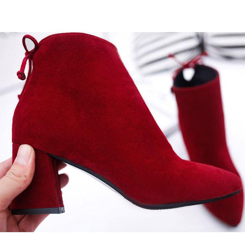 Moda Zapatos Photo Mujeres gris Size45 Tobillo Mujer Alto Fiesta Color Estilo Europa Original Equitación De Tinto Ecuestre 2018 Más Tacón negro vino Bombas Nuevo Botas THBEFqa