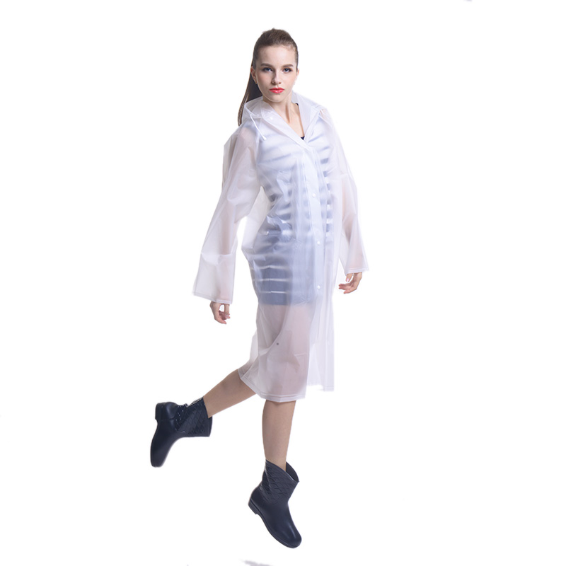 Fashion Eva Translucent Frosted Sense Adult Raincoat Hooded Poncho Long Paragraph Ms. Male Couple Models
