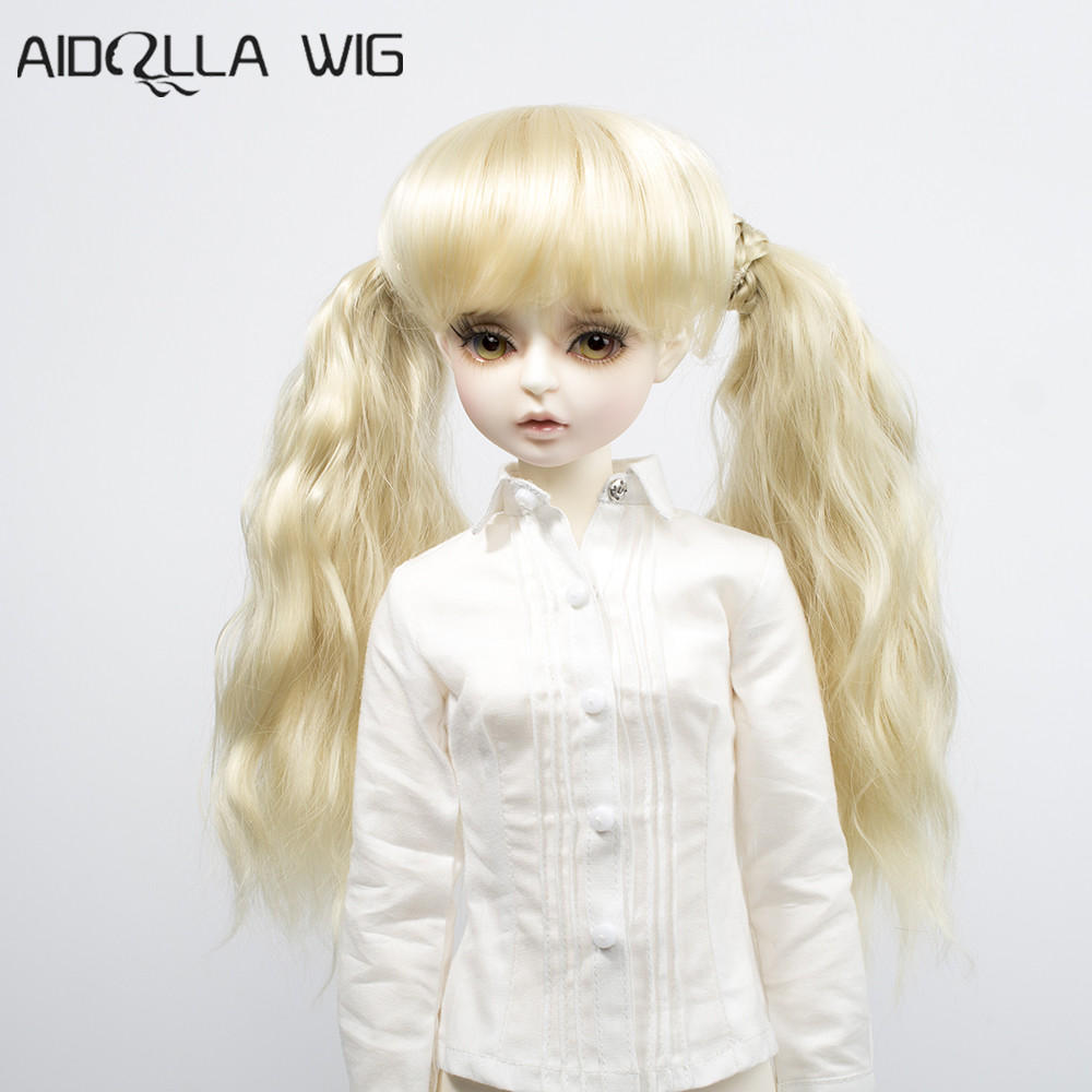 AIDOLLA New Arrival Blonde Doll Wig with 2 Braided Ponytail Charming Long Heat Resistant Fiber for 1/3 1/4 BJD
