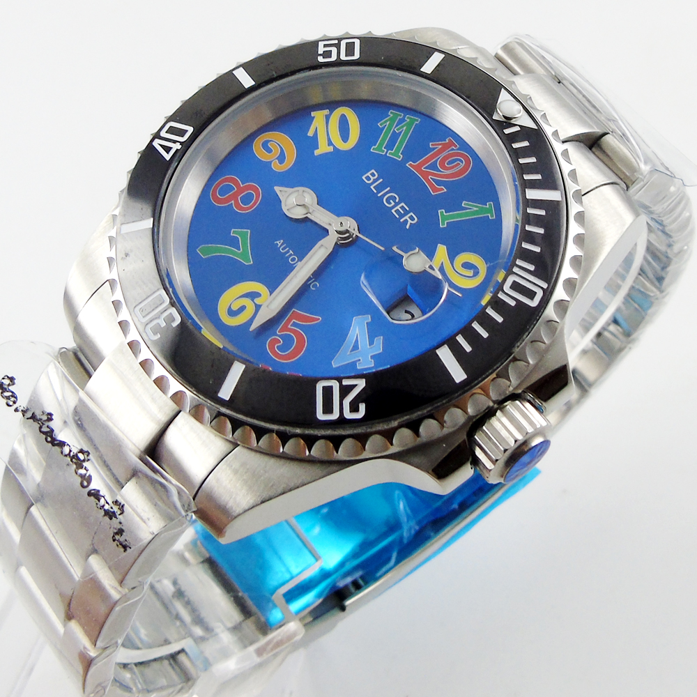 Bliger 40mm blue dial date black Ceramics Bezel colorful marks saphire glass Automatic movement Men's watch bliger 40mm gray dial date blue ceramics bezel stainless steel case saphire glass automatic movement men s watch