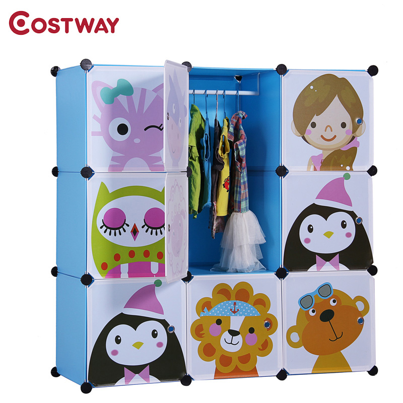 COSTWAY DIY 9-Grid Portable Simple Cartoon Wardrobe Assembled Resin Plastic Storage Cabinet Organizer For Children Room W0178