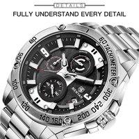 BENYAR кварцевые мужские часы лучший бренд Роскошные Часы мужские стальные водонепроницаемые спортивные мужские наручные часы Chronograp Relogio