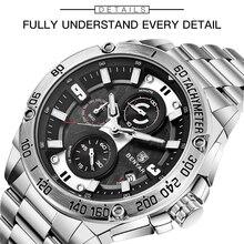 BENYAR кварцевые мужские часы лучший бренд Роскошные Часы мужские стальные водонепроницаемые спортивные мужские наручные часы хронограф Relogio Masculino 2019