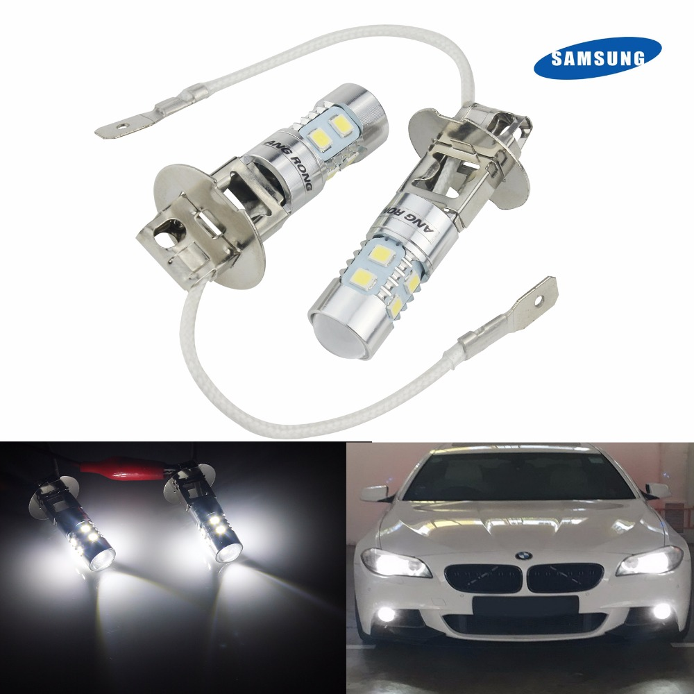 ANGRONG 2pcs 6000K H3 453 10 SMD 2835 LED Fog Light Daytime Running Lamp DRL Projector(CA305)