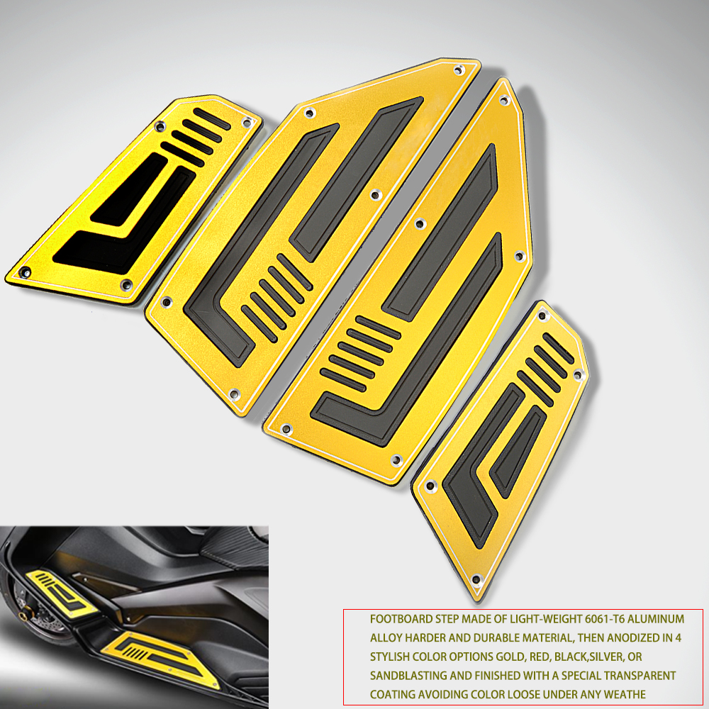 Motorcycle Footboard Steps Motorbike Foot Footrest Pegs Plate Pads For YAMAHA TMAX530 TMAX 530 T MAX 530 2012 2013 2014 2015 16 in Foot Rests from Automobiles Motorcycles