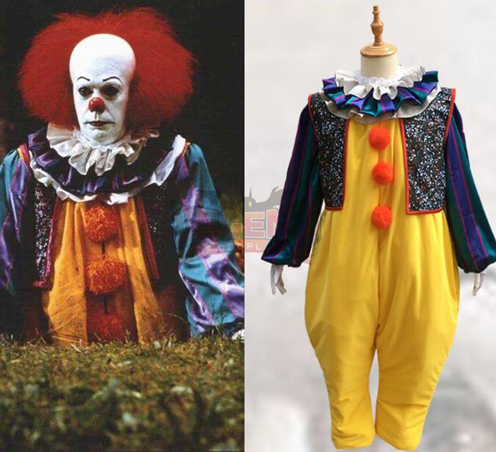 Stephen King's It Pennywise Косплэй костюм клоун Джокер зло Ужасы террор Hallowmas Хэллоуин пальто пиджаки желтый