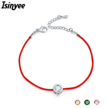 ISINYEE Fashion Red String Thread Rope Bracelet Small Cubic Zirconia CZ Minimalist Bracelets For Women Handmade Crystal Jewelry(China)