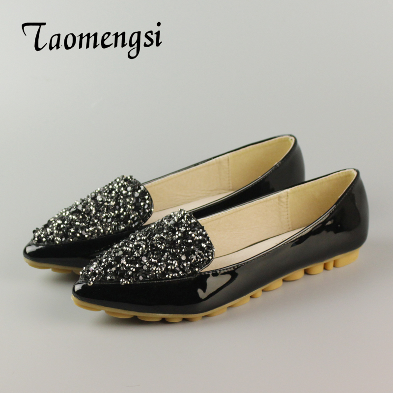 Big Size Footwear Woman Flats Shoes Bling Beads Pointed Toe Boat Shoes For Women Black Solid Fashion Soft Sole Ladies Shoe 43 gold sliver shoes woman for 2016 new spring glitter bling pointed toe flats women shoes for summer size plus 35 40 xwd1841