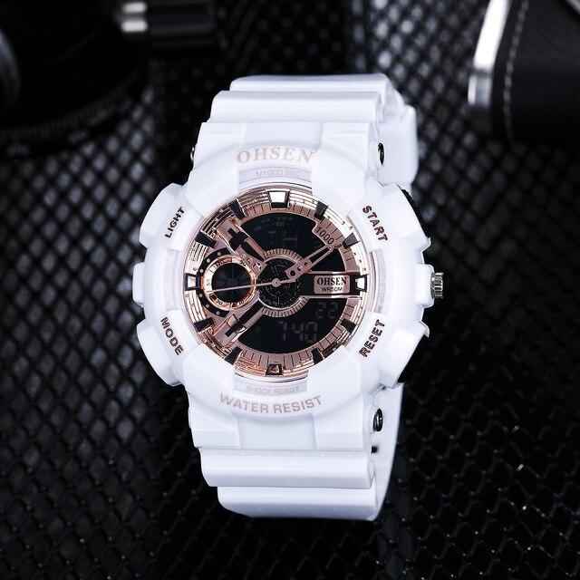 82c118dcd7bf 2018 venta OHSEN nueva moda Digital reloj deportivo hombre cuarzo reloj de  pulsera con banda de