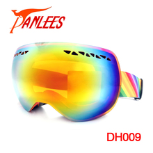 Hot Sales Panlees UV400 Dual Lens Anti-fog Mirrored Snowboard Goggles Snow Goggles Big Vision Goggles Free Shipping