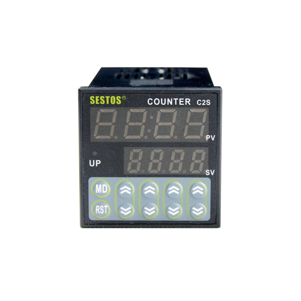 цена на 10PCS/Lot 12-24V CE C2S-R-24 0.39INCH Large Font LED Display Sestos Digital Preset Scale Counter Tact Switch Register Whosesale