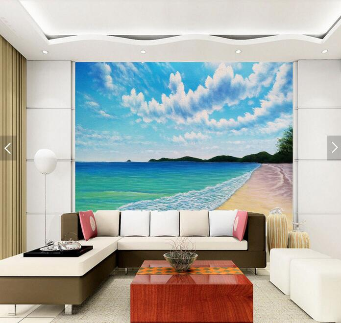 Blue sky high-definition beach scenery TV wall background large wall murals wallpaper living room bedroom painting 3d wallpaper high definition sky blue sky ceiling murals landscape wallpaper living room bedroom 3d wallpaper for ceiling