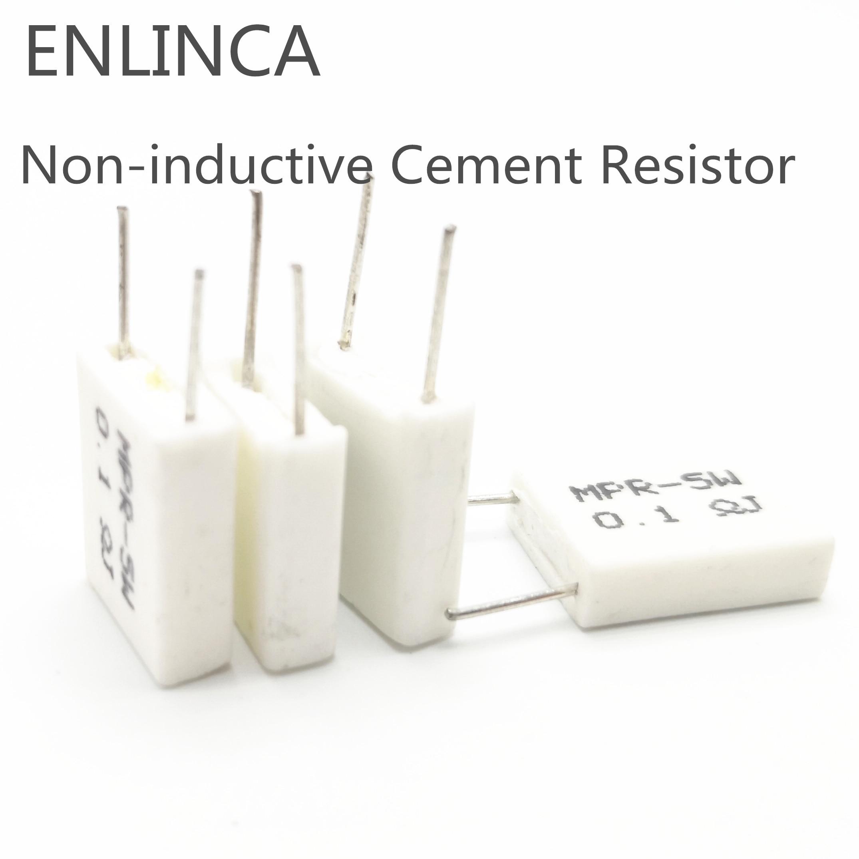 5pcs  5W 0.1 0.15 0.22 0.25 0.33 0.5 Ohm  Non-inductive Cement Resistor 5% 0.1R 0.15R 0.22R 0.25R 0.33R 0.5R