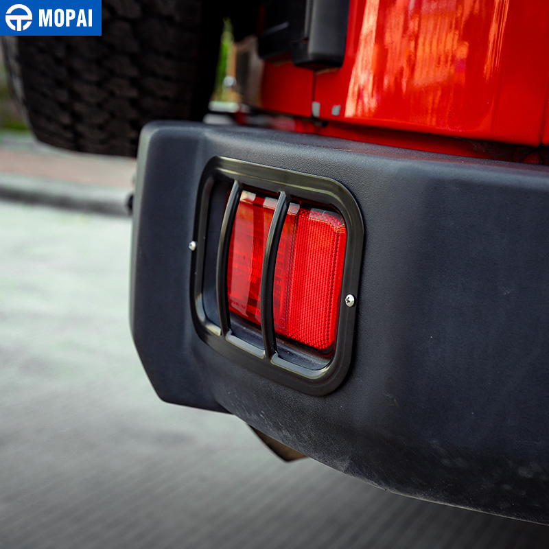 Image 4 - MOPAI Metal Car Exterior Rear Tail Fog Light Lamp Cover Protect Accessories for Jeep Wrangler JK 2007 2018 Car Styling-in Lamp Hoods from Automobiles & Motorcycles