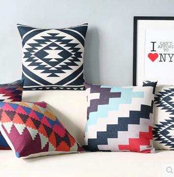 Sofa Cushion Cover India: Indian style Geometric Pattern Cotton Linen Home Cushion Cover    ,