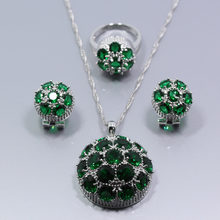 Top Quality Ball Green Zircon 925 Silver Big Jewelry Set For Women Earring Necklace Chain Pendant Ring Free Gift Box(China)