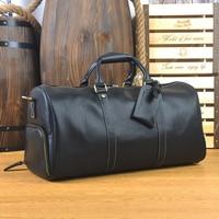 Genuine Leather men travel bag Carry on Luggage bags men Leather Travel Duffel Weekend bag big Tote Handbag large shoulder Bags