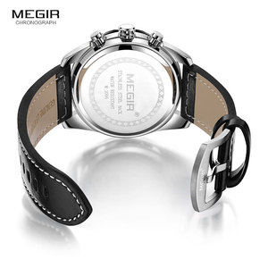 Image 5 - Megir Mens Military Sports Watches Leather Strap Top Brand Chronograph 3 Bar Waterproof Luminous Wrist Watch Man 2096G White