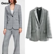 Genuo Fashion single breasted plaid blazer Long sleeve slim fit office ladies blazer Autumn coat women blazers feminino blazer feminino stripe slim fit women long sleeve spring autumn office lady blazer mujer 2019 women outwear hjj801930