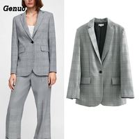Genuo Fashion single breasted plaid blazer Long sleeve slim fit office ladies blazer 2018 Autumn coat women blazers feminino