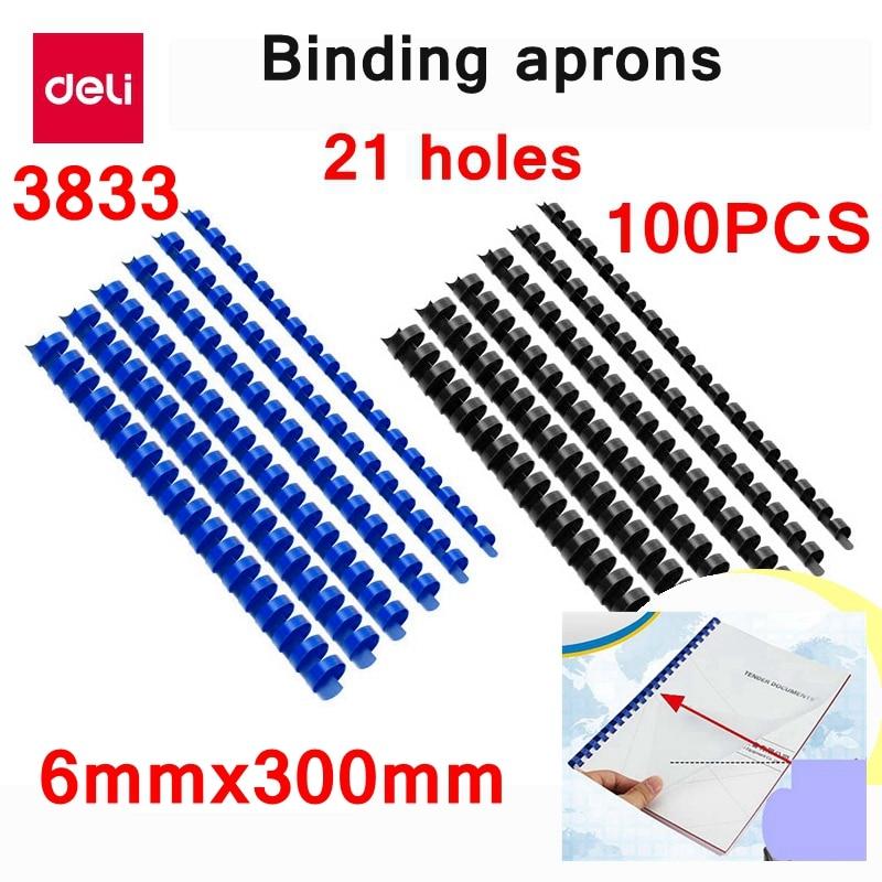 100PCS/LOT Deli 3833 PVC Binding Aprons 21 Rings  6mmx300mm A4 Documents Binding Aprons Comb Binding Machine Suppliers