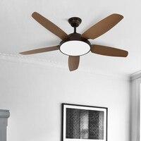 Retro Iron Art Fan LED Ceiling Lamp Rotating Dining Room Minimalist Bedroom Rotate Fan Wood Ceiling Lamp