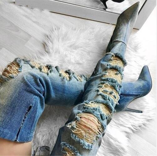 03f72b13 Con Dedo Agujeros Denim De Del Nueva Tacones Material Alto Puntiagudo  Casual Zapatos Botas Pie Tacón Personalidad Picture Mujeres ...