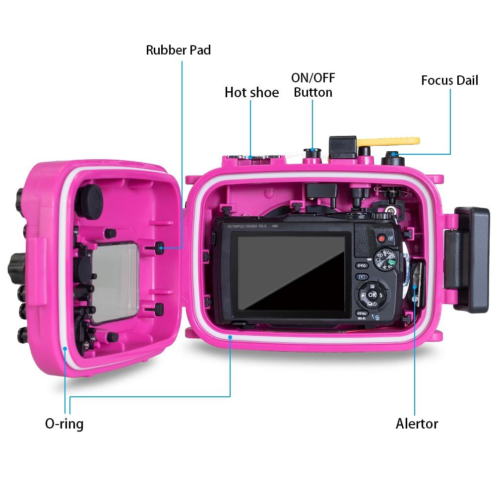 Seafrogs Voor Olympus TG 5 Case 60 m/195ft TG5 Onderwater Duiken Camera Behuizing Waterdichte Case met Dual Fiber optic poorten - 4