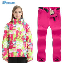 Goexplore Ski Suit Brands Women Winter Outdoor Windproof Waterproof Mountain Ski Jacket And Pants Snow Skiing Snowboard Sets недорого