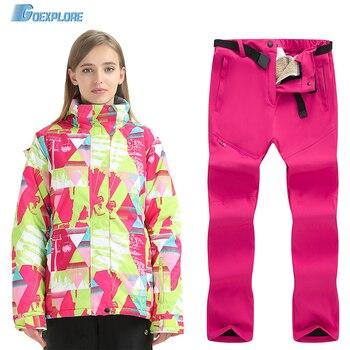 цена на Goexplore Ski Suit Brands Women Winter Outdoor Windproof Waterproof Mountain Ski Jacket And Pants Snow Skiing Snowboard Sets