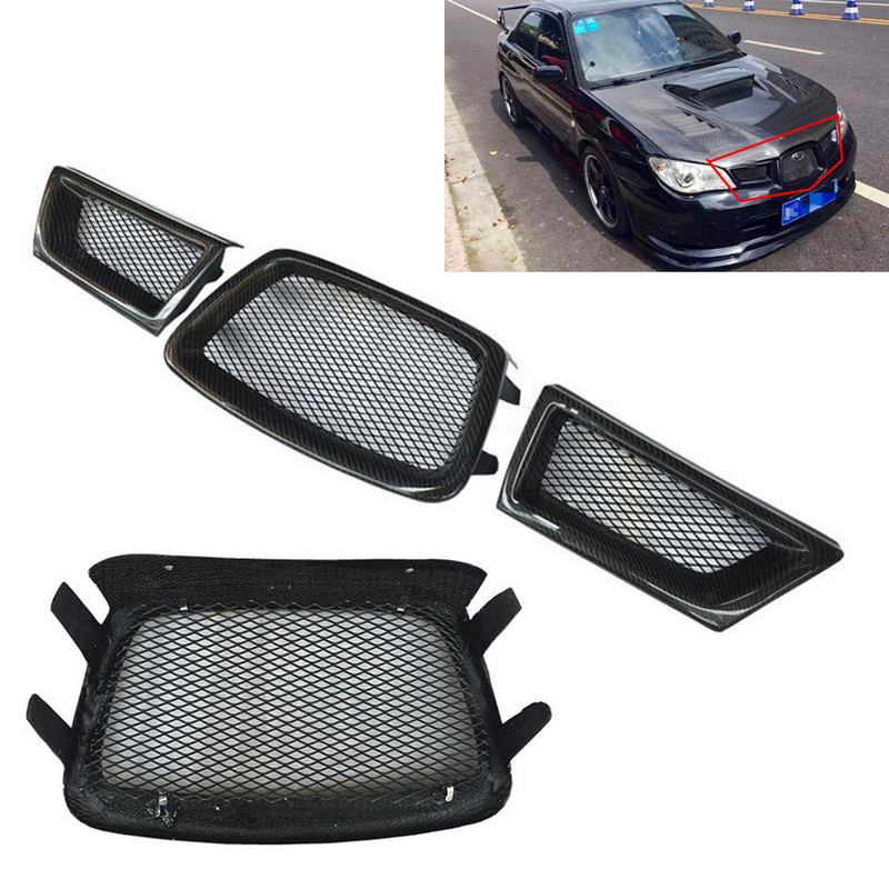 3pcs Carbon Fiber Frame Front Mesh Grill Grille For Subaru Impreza WRX STi 9th 2006-2007 auto front grille grill badge emblem fit for wrc red rally impreza foreater sti wrx
