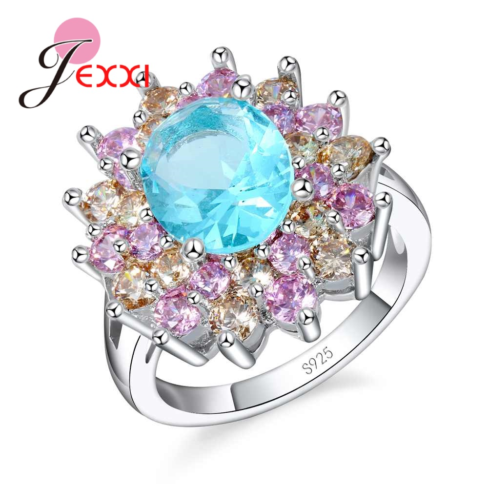 JEXXI Noble 3 Color Flower Ring Exaggerate Design 925 Sterling Silver Cubic Zircon Jewelry Shiny Blue/Pink/Champagne Anel