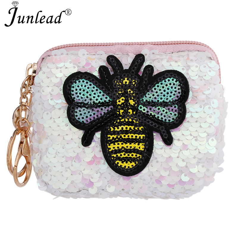 Junlead Charm Sparkly Sequins Bee Coin Purse Fashion Square KeyChains Cute  Card Coin Purse For Women MIni Bag Gift Jewelry 2018 132eb4594a09