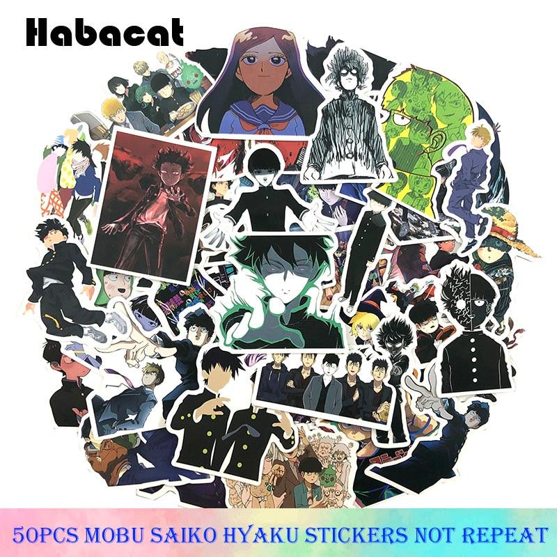 50Pcs/Pack Mobu Saiko Hyaku Graffiti Stickers Mob Psycho 100 For Luggage Laptop Skateboard Stickers Moto Bicycle Guitar Fridge
