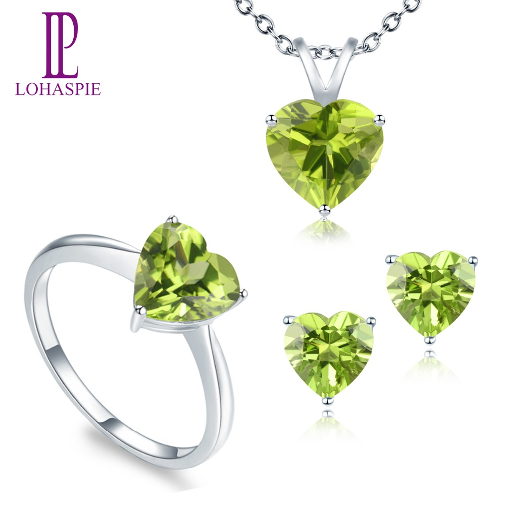 LP Solid 14K White Gold Natural Gemstone Peridot  Stud Earrings & Pendant & Ring Bridal Set Jewelry Sets For Women NEWLP Solid 14K White Gold Natural Gemstone Peridot  Stud Earrings & Pendant & Ring Bridal Set Jewelry Sets For Women NEW