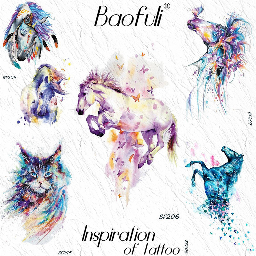 Baofuli Sexy Unicorn Cat Waterproof Butterfly Tattoos Men Watercolor Feather Temporary Tattoo Sticker Fake Horse Women Tattoos