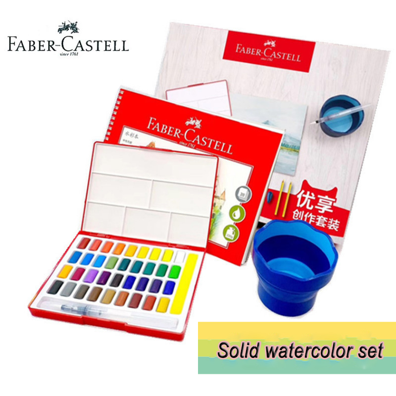 Faber Castell 36 Color Solid Water-color Paint Enjoy Creative Set Cake Kit With Water Brush Sponge Pad Foldable Cup & Book