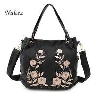 Nuleez Waterproof Embroidery Nylon Bag Black Casual Women Tote Bag Flower Handbags Leather Bag Cross Body Mummy Weekend Bag 2602