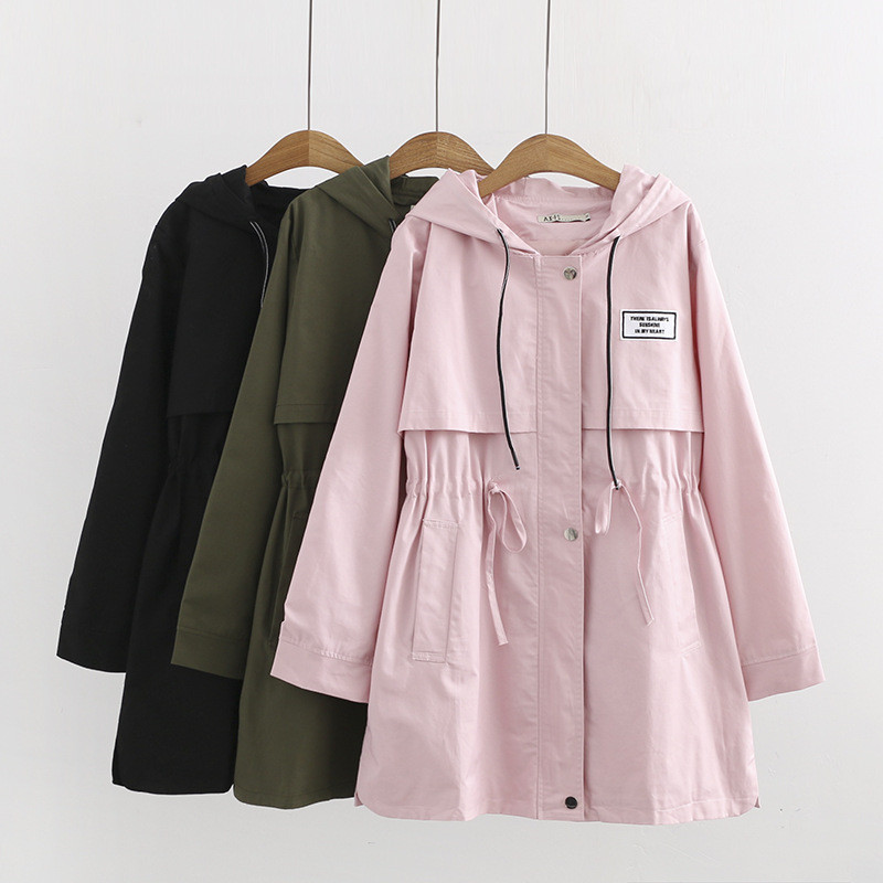 Plus size 6XL Women   Trench   Coat 2019 Spring Autumn Fashion Basic Slim Waist Zipper Pocket Long Hooded Solid Windbreaker Coat