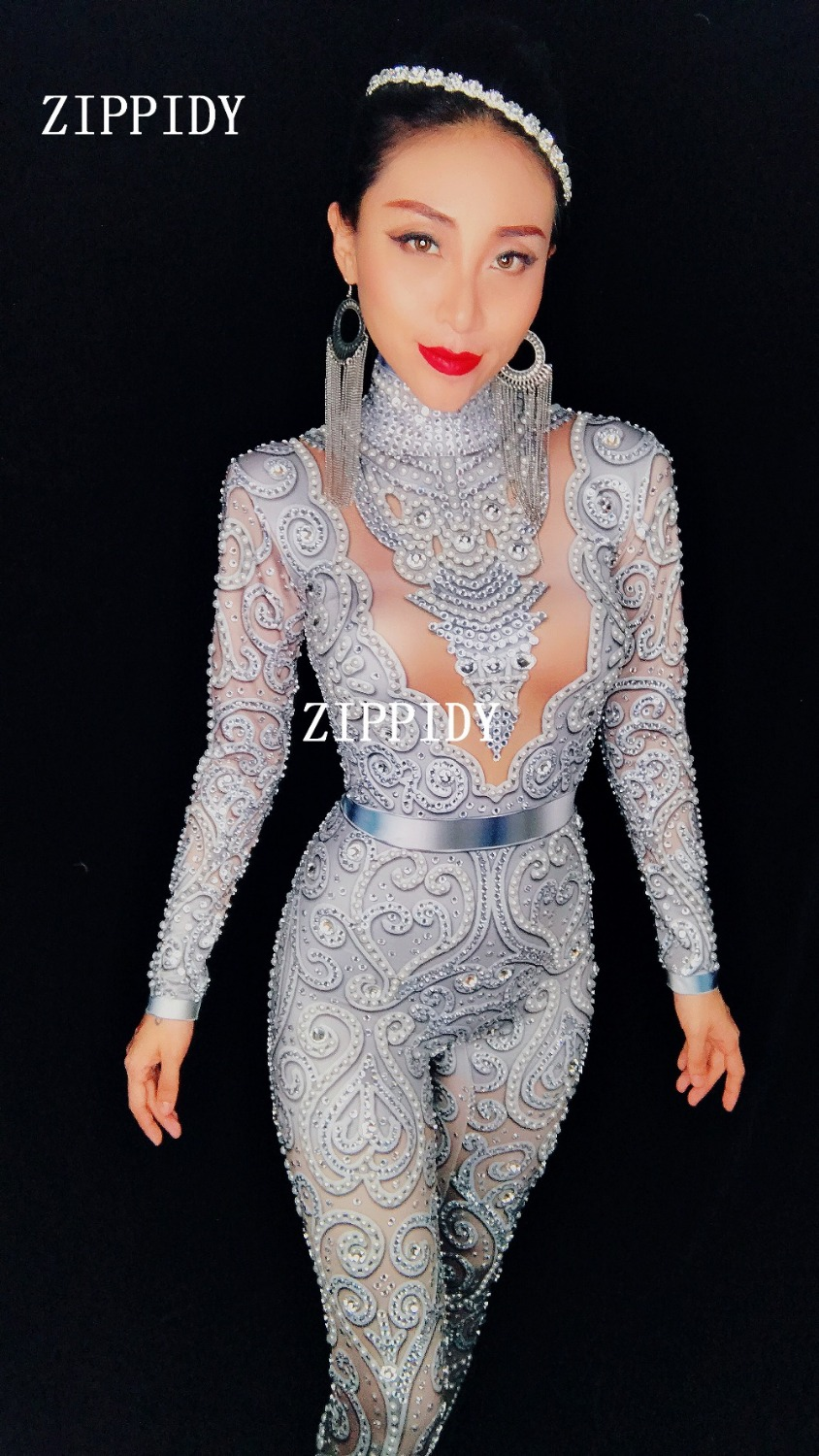 Glisten Silver Crystals Jumpsuit Long Sleeves Stretch Pearl Outfit Female Singer DS Nightclub Womens Party Wear Sexy Bodysuits
