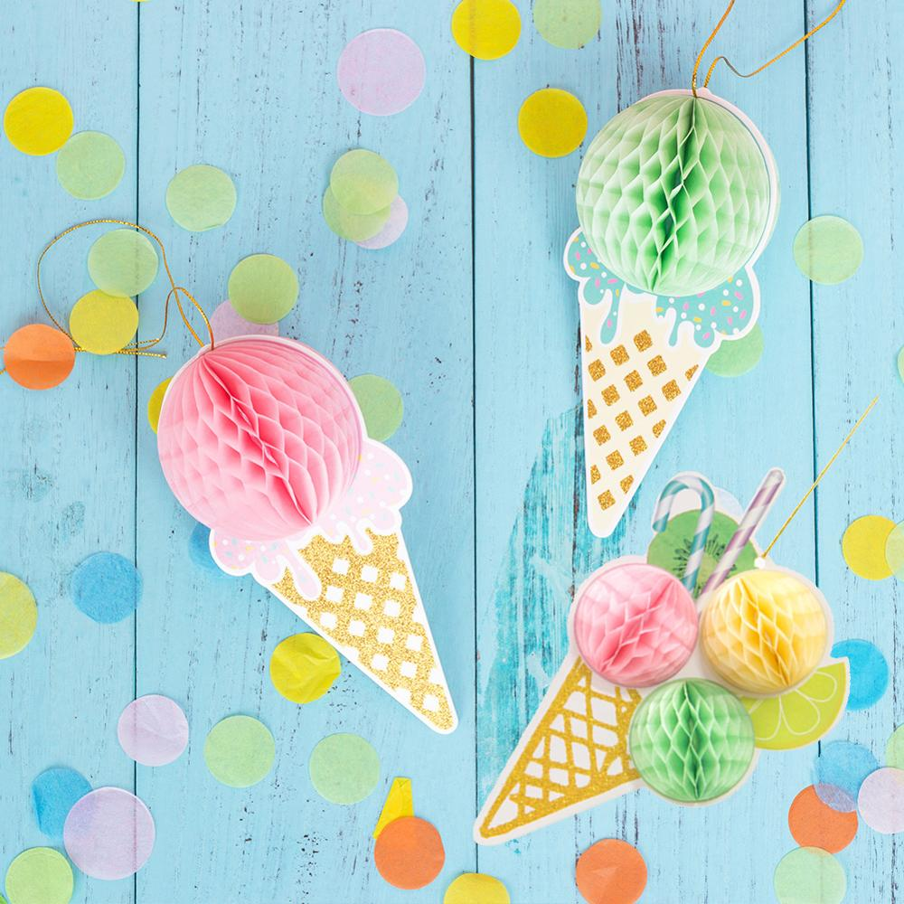 Ice Cream 3D Honeycomb balls Summer Party Bar Pop Garland Colorful Popsicle Banner Kids Birthday Decorations
