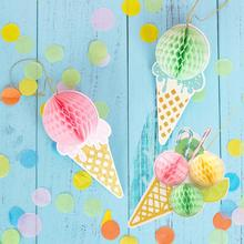 Ice Cream 3D Honeycomb balls Summer Party Ice Cream Bar Ice Pop Garland Colorful Popsicle Banner Kids Birthday Party Decorations недорого