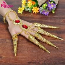 1 Pair 2pcs India Dancewear Bollywood Jewelry Fingernail Adult Kids Girls Gold Indian Bracelets Belly Dance Accessories