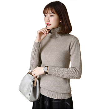Turtleneck women sweater and pullovers autumn winter 2018 woman sweater long sleeve Warm wool knitted female pullover Pull Femme