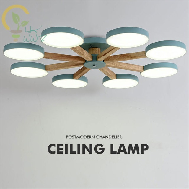Nordic Colourful Led Ceiling Lamps Wood Atmosphere Plafonnier led for bedroom dining room Modern Simple Lamparas de techo